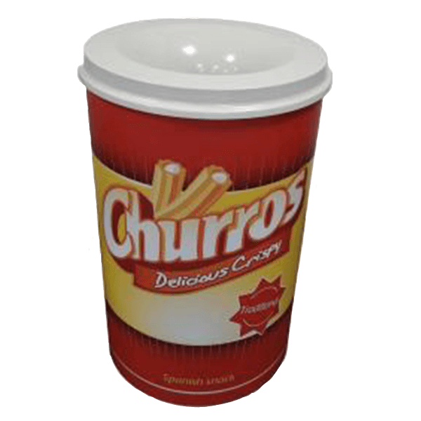 METAL WASTE BIN CHURRO'S WHITE